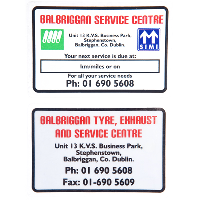 Service Reminder Stickers- Non Franchise