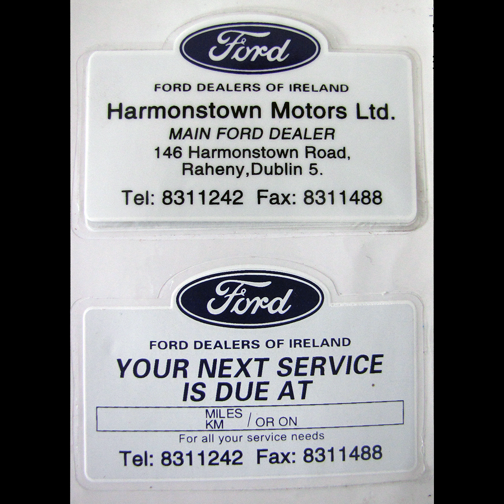 Ford Service Decals : Service reminder stickers motor display