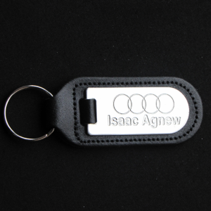 Leather and Metal Embossed Key Ring