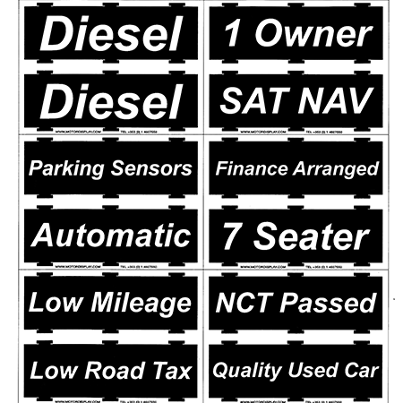 Specification Cards for Headboard Display