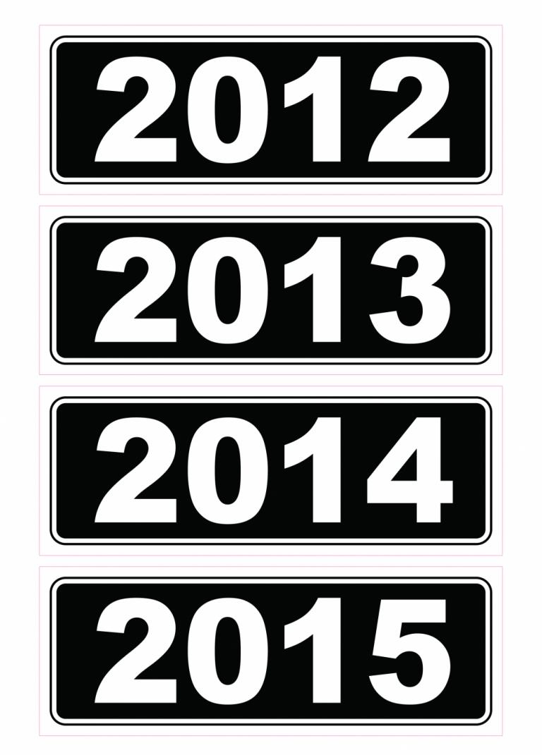 Year Stickers - Black & White