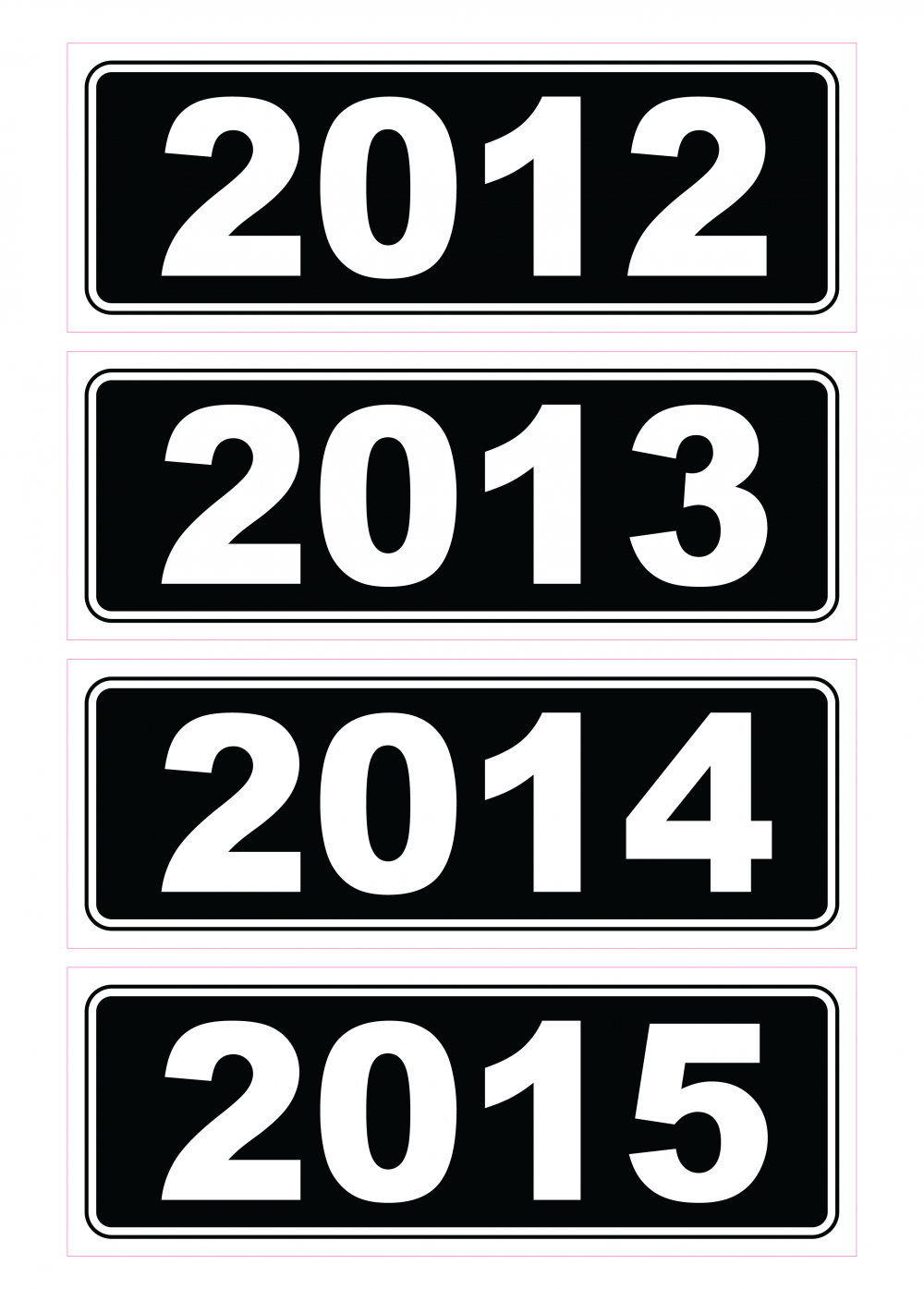 Year Stickers - Black & White